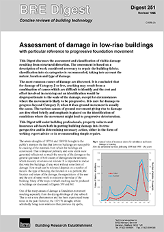 Assessment of damage in low-rise buildings, with particular reference to progressive foundation movement. Revised 1995<BR>(DG 251) <B>DOWNLOAD</B>