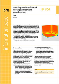 Assessing the effects of thermal bridging at junctions and around openings  <B>Downloadable version</B>