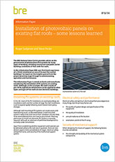 Installation of photovoltaic panels on existing flat roofs - some lessons learned (IP 8/14)