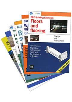 BRE Building Elements series: Roofs and roofing; Floors and flooring; Walls, windows and doors; Building services; Foundations, basements and external works; and Understanding dampness (AP 243)